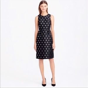 J Crew Polka Dot Dress Black and Metallic Size 6P